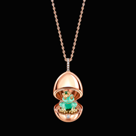 Fabergé - Fabergé Essence Or rose et laque verte Grenouille médaillon surprise 1258fp2370