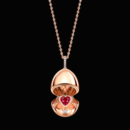 Fabergé - Fabergé Essence Or Rose Rubis Coeur Surprise médaillon 1258FP2371